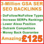 3-Million GSA SER Backlinks 125GBP