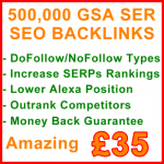 500,000 GSA SER Backlinks 35GBP
