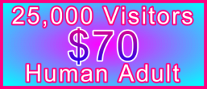 Adult 25,000 Visitors $70: Visitor Sales Information Support Banner
