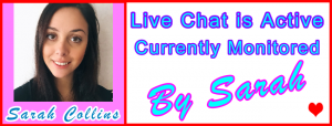 Sarah Live Chat Host: Visitor Live Chat Host Information Support Banner