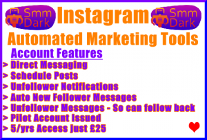 SMMDark Instagram Automated Marketing Tools Banner £25