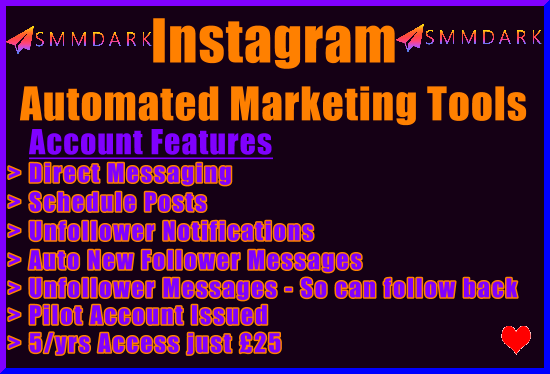 SMMDark Instagram Automated Marketing Tools Banner New Black £25